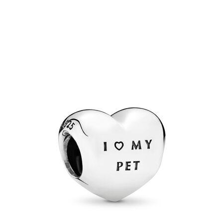 I Love My Pet Charm, Clear CZ