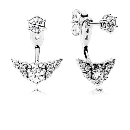Fairytale Tiara Stud Earrings, Clear CZ