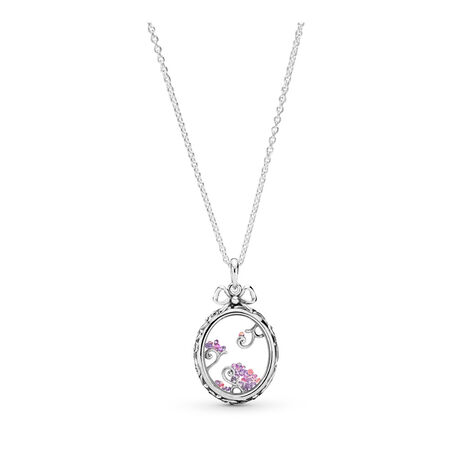 Locket of Dazzle Necklace, Multi-Colored CZ, Sterling silver, Silicone, Pink, Cubic Zirconia - PANDORA - #397716ACZMX