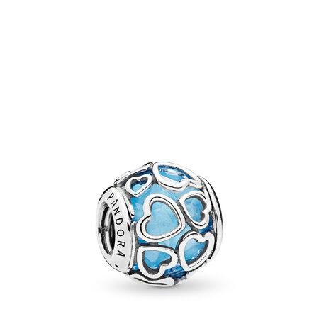 Encased in Love Charm, Sky Blue Crystal, Sterling silver, Blue, Crystal - PANDORA - #792036NBS