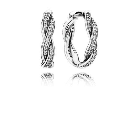 Twist Of Fate Hoop Earrings, Clear CZ, Sterling silver, Cubic Zirconia - PANDORA - #290576CZ