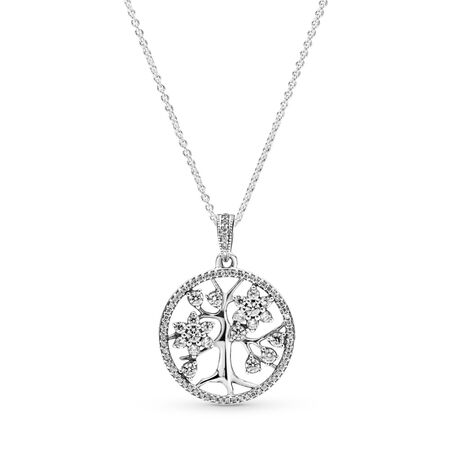 Family Tree Pendant, Clear CZ, Sterling silver, Cubic Zirconia - PANDORA - #390384CZ