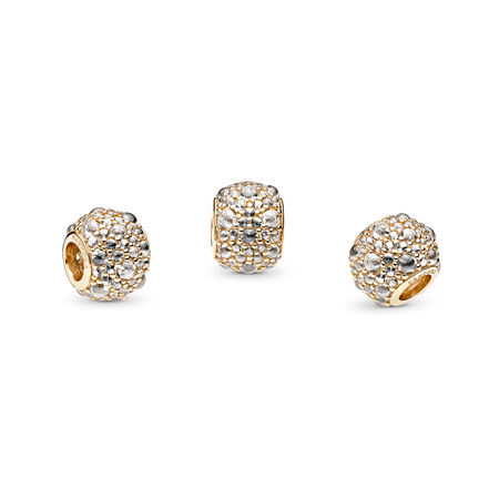 Shimmering Droplets Charm, 14K Gold & Clear CZ