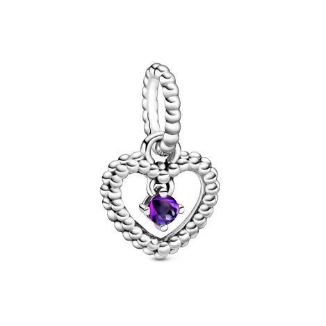 Heart sterling silver dangle with purple crystal