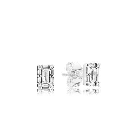 Luminous Ice Stud Earrings, Clear CZ