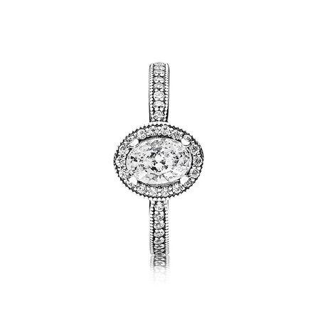 Vintage Elegance Ring, Clear CZ