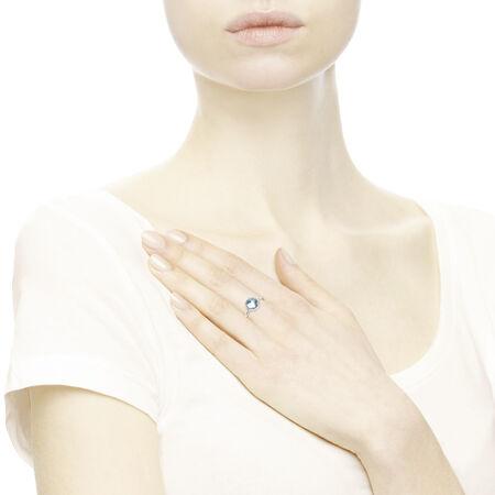 Poetic Droplet Ring, Aqua Blue Crystal