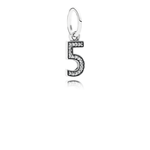 Number 5 Dangle Charm, Clear CZ
