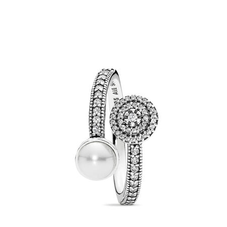 Luminous Glow Ring, White Crystal Pearl and Clear CZ