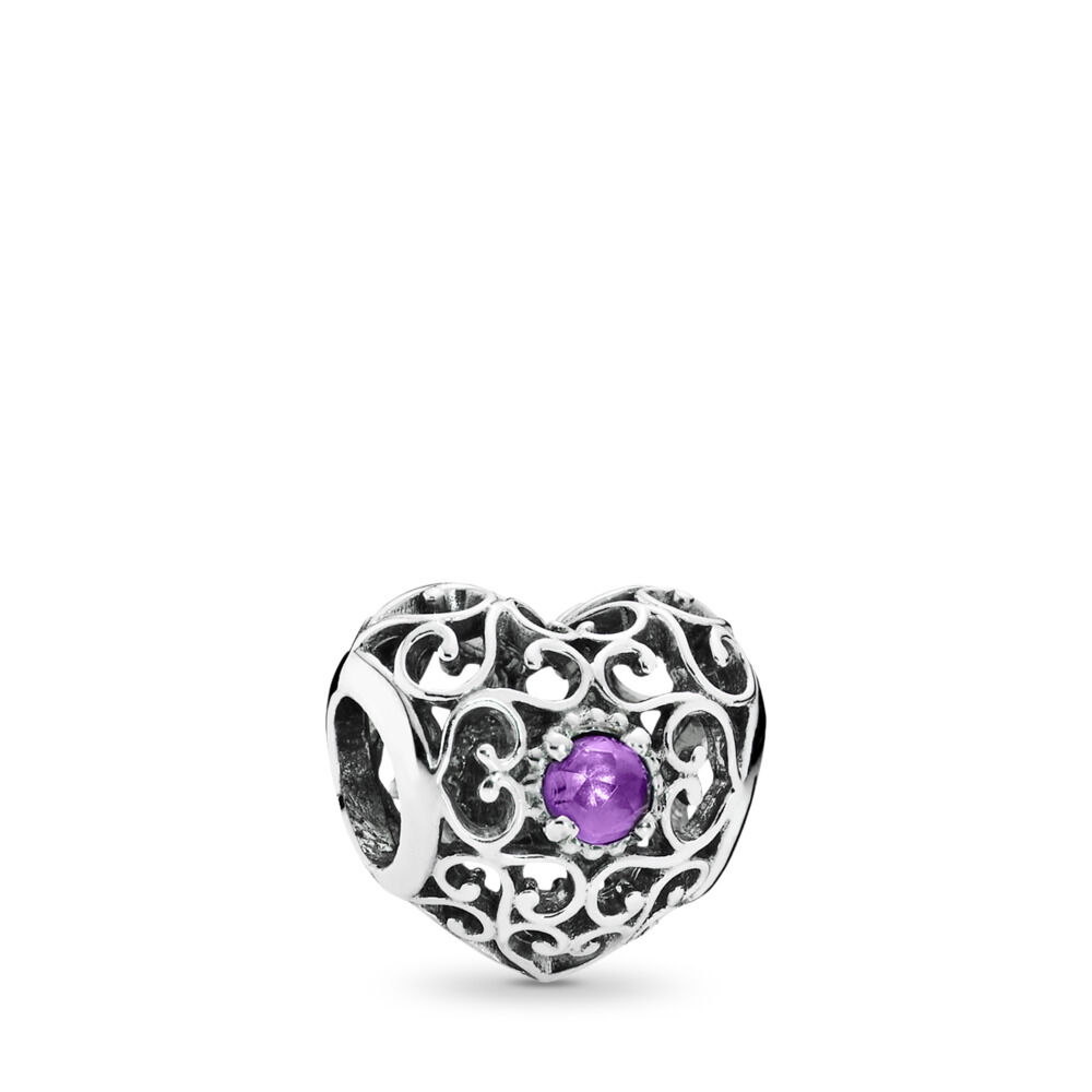 f9669fcf1 February Signature Heart Charm, Synthetic Amethyst, Sterling silver, Purple,  Synthetic Amethyst -