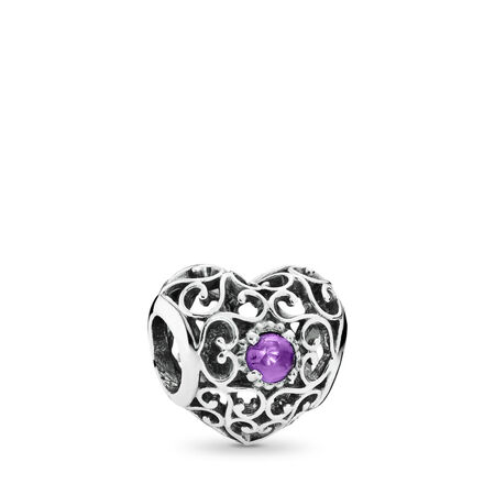 February Signature Heart Charm, Synthetic Amethyst, Sterling silver, Purple, Synthetic Amethyst - PANDORA - #791784SAM