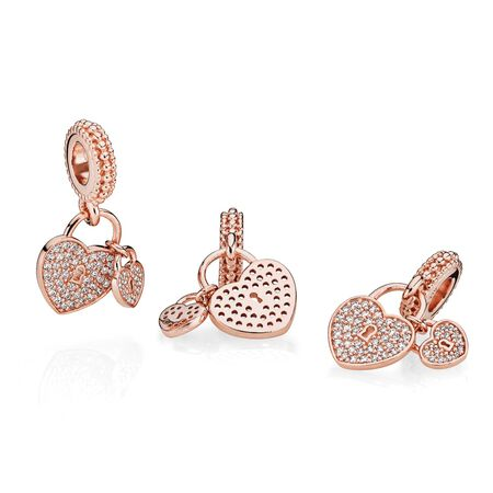 Love Locks Dangle Charm, PANDORA Rose™ & Clear CZ