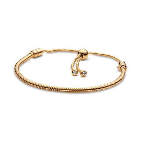 PANDORA Shine™ Sliding Bracelet, 18ct Gold Plated, Silicone, Cubic Zirconia - PANDORA - #567110CZ