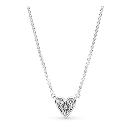 Heart of Winter Necklace, Clear CZ, Sterling silver, Cubic Zirconia - PANDORA - #396370CZ