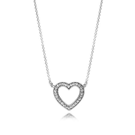 Loving hearts of pandora necklace clear cz pandora jewelry us loving hearts of pandora necklace clear cz aloadofball
