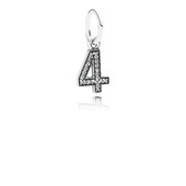 Number 4 Dangle Charm, Clear CZ