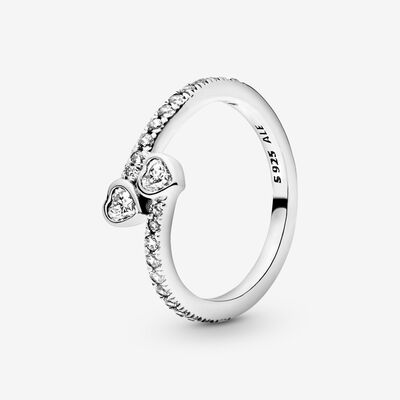 Forever Hearts Ring with Cubic Zirconia , Silver