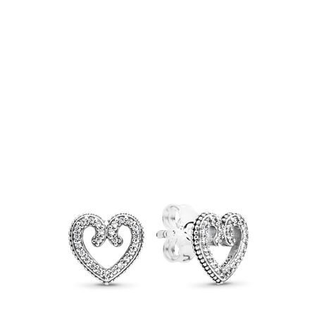 Heart Swirls Stud Earrings, Clear CZ
