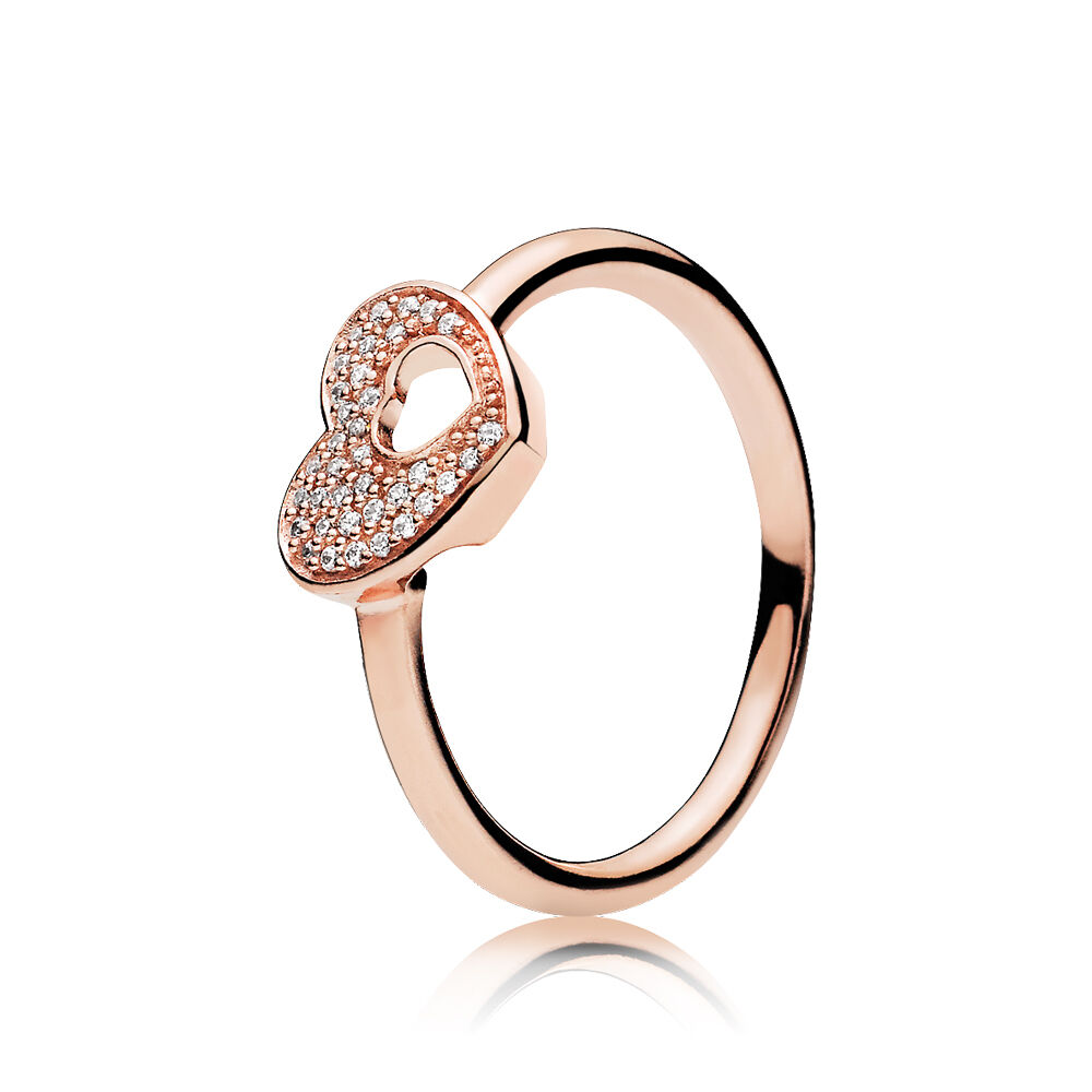 Shimmering Puzzle Heart Frame Ring, PANDORA Rose™ & Clear CZ ...