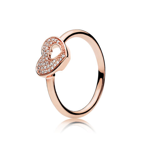 Shimmering Puzzle Heart Frame Ring, PANDORA Rose™ & Clear CZ