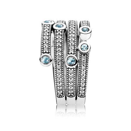 Shimmering Ocean Ring, Frosty Mint & Clear CZ