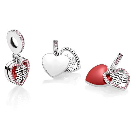 Double Happiness Heart Dangle Charm, Crimson Red Enamel & Multi-Colored CZ
