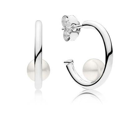 Contemporary Pearls Hoop Earrings, Freshwater Cultured Pearl