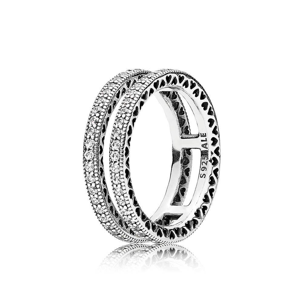Double Hearts Of Pandora Ring Clear Cz Pandora Jewelry Us