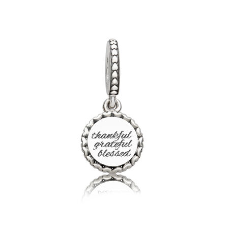 Thankful, Grateful, Blessed Dangle Charm, Silver Enamel