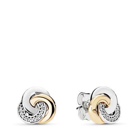 2c96ec65a Interlinked Circles Stud Earrings, Clear CZ Two Tone, Cubic Zirconia