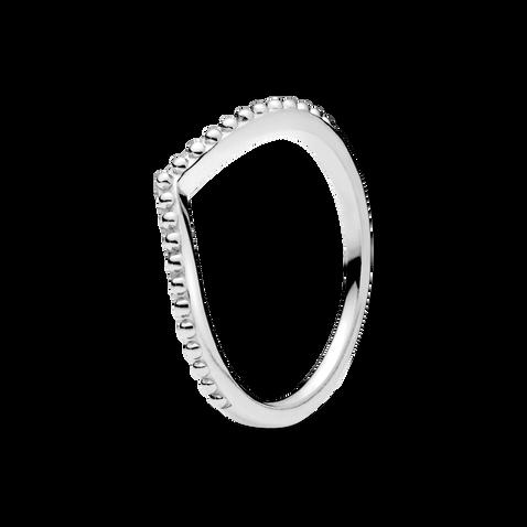 Beaded Wishbone Ring