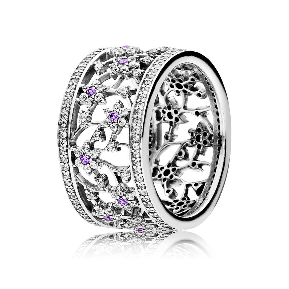 90a8929c2 Forget Me Not Ring, Purple & Clear CZ