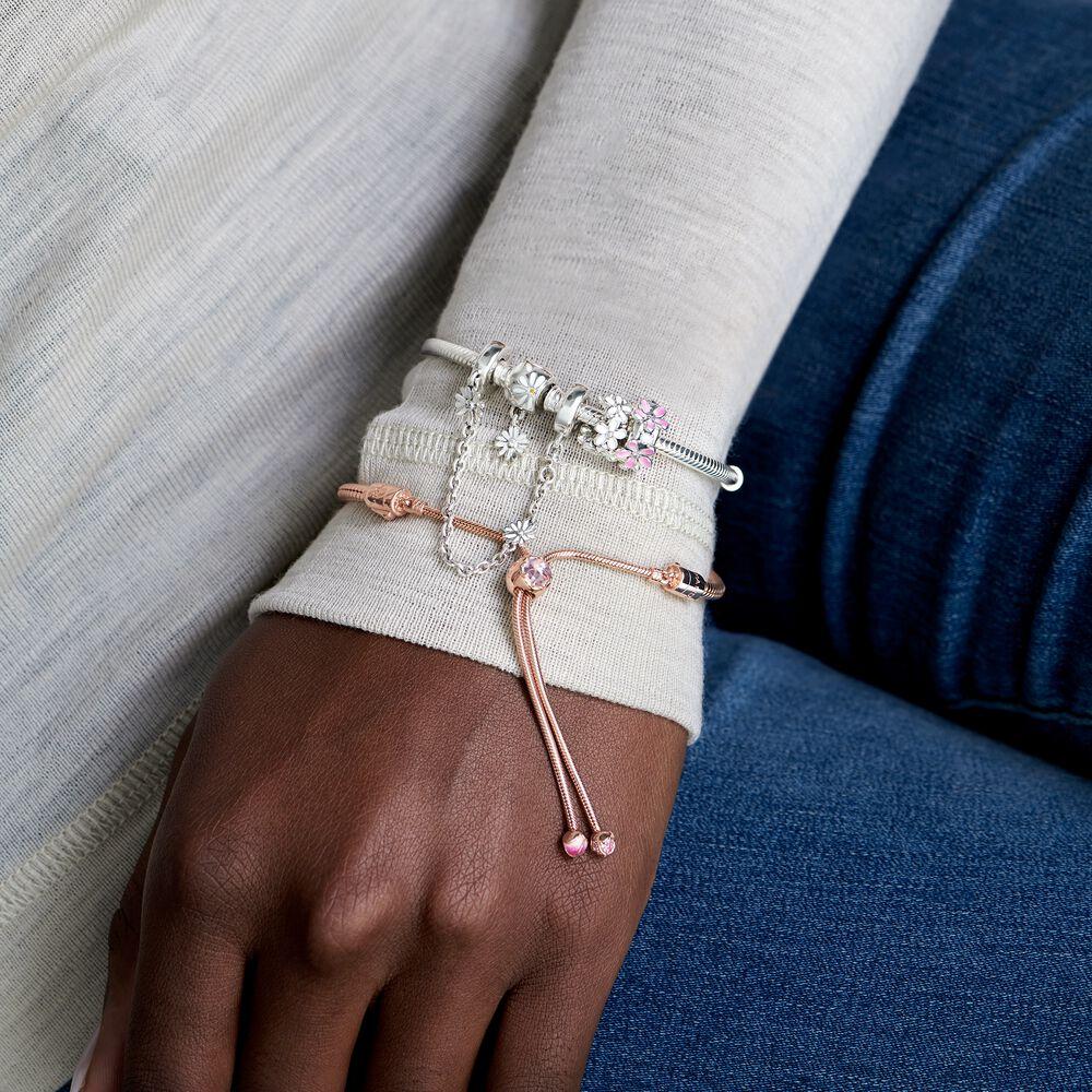 Pandora Moments Daisy Flower Clasp Snake Chain Bracelet Sterling Silver Pandora Us