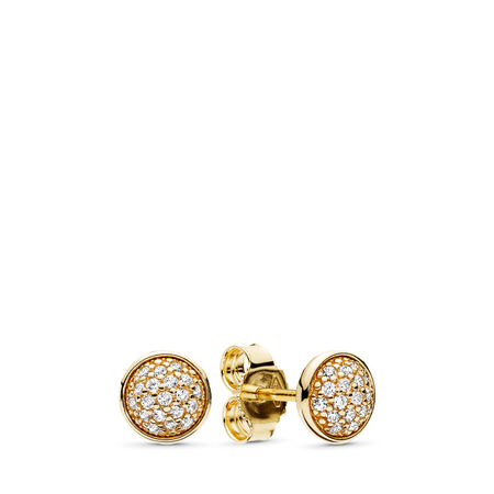 Dazzling Droplets Stud Earrings, 14K Gold & Clear CZ, Yellow Gold 14 k, Cubic Zirconia - PANDORA - #256212CZ