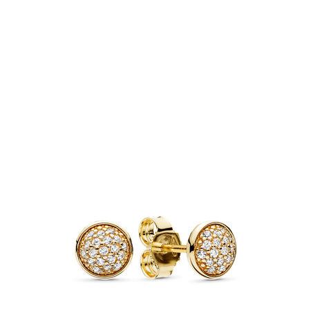 Dazzling Droplets Stud Earrings, 14K Gold & Clear CZ