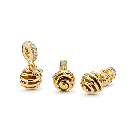 Sweet As Honey Dangle Charm, PANDORA Shine™, Tiger Eye & Clear CZ, 18ct Gold Plated, Mixed stones - PANDORA - #767044CZ