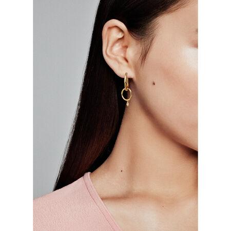 Flower Stem Hoop Earrings, Pandora Shine™, 18ct Gold Plated, Cubic Zirconia - PANDORA - #267927CZ