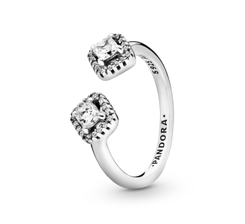 Sterling silver open ring with clear cubic zirconia