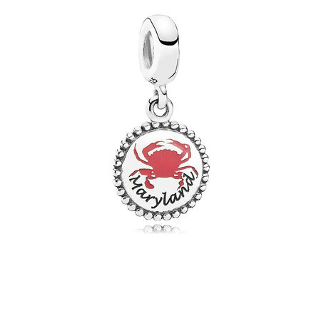Maryland Crab Dangle Charm, Mixed Enamel