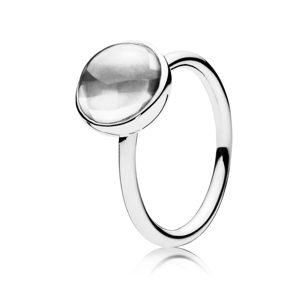 7b1836ec7 Poetic Droplet Ring, Clear CZ, Sterling silver, Cubic Zirconia - PANDORA - #