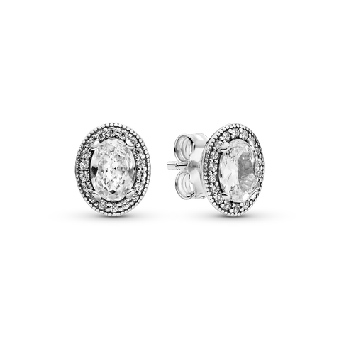 Oval Sparkle Halo Stud Earrings