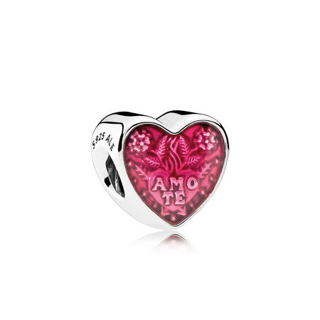 Latin Love Heart Charm, Transparent Cerise Enamel