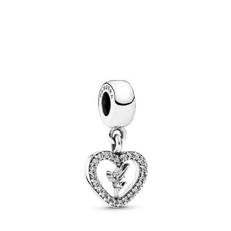 Disney, Love Tinker Bell Dangle Charm, Clear CZ, Sterling silver, Cubic Zirconia - PANDORA - #791565CZ