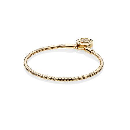 Smooth Pandora Shine Bracelet Signature Padlock Clear Cz