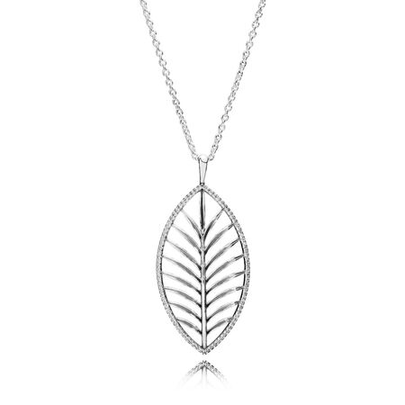 Tropical Palm Pendant Necklace, Clear CZ, Sterling silver, Cubic Zirconia - PANDORA - #390370CZ