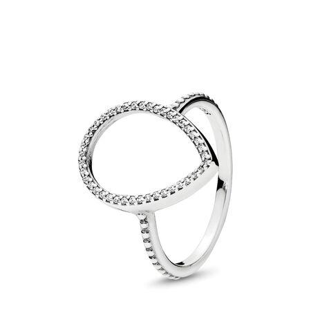 Teardrop Silhouette Ring, Clear CZ, Sterling silver, Cubic Zirconia - PANDORA - #196253CZ