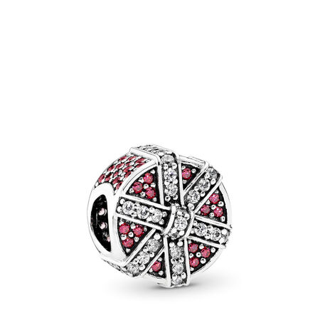 Shimmering Gift Charm, Red & Clear CZ