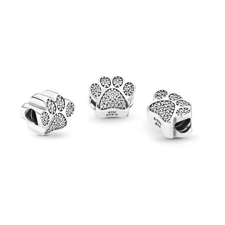 Sparkling Paw Print Charm, Sterling silver, Cubic Zirconia - PANDORA - #791714CZ