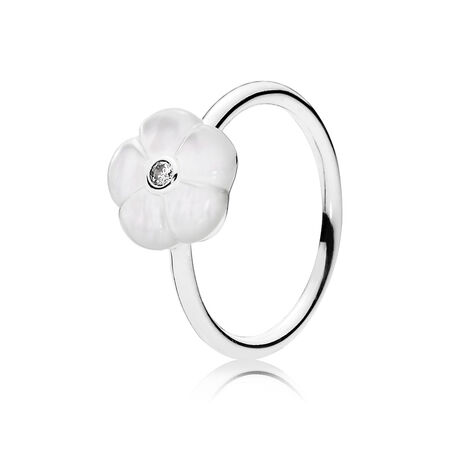 Luminous Florals Ring, Mother-Of-Pearl & Clear CZ, Sterling silver, Mixed stones - PANDORA - #190999MOP