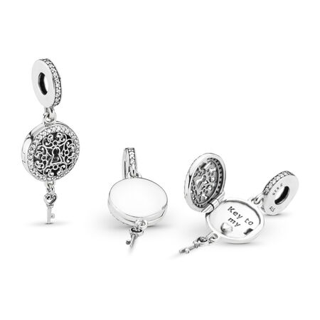 Regal Love Key Dangle Charm, Clear CZ, Sterling silver, Cubic Zirconia - PANDORA - #797660CZ